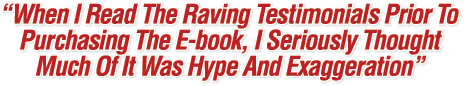 When I Read The Raving Testimonials Prior To Purchasing The E-book, I Seriously Thought Much Of It Was Hype, Exaggeration